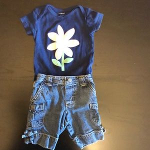 🎉 5/$15 Carter's Navy Bodysuit and Jean Shorts